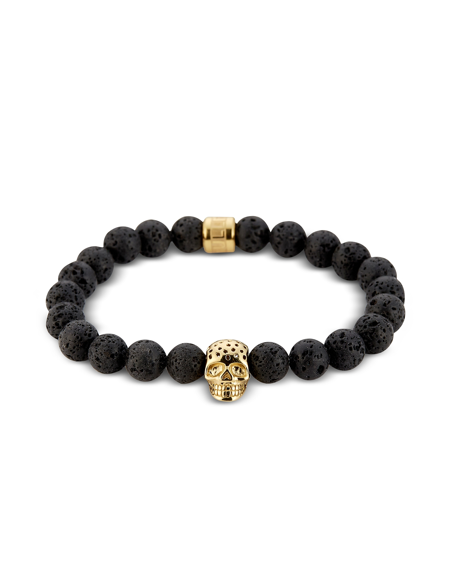 Lavastone & Perforated Gold Skull Charm Bracelet