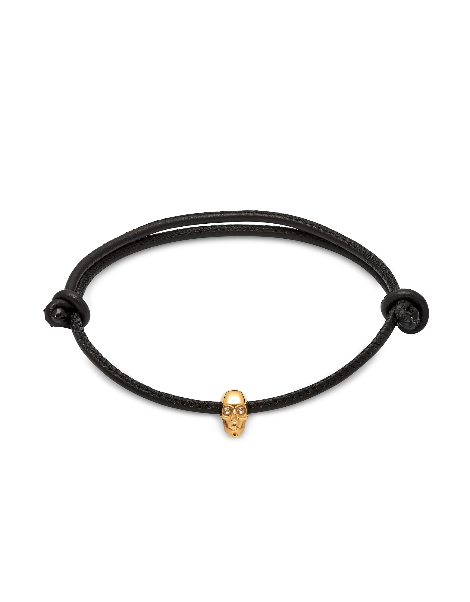 Skull Friendship Bracelet_White Swarovski Black Leather & Yellow Gold