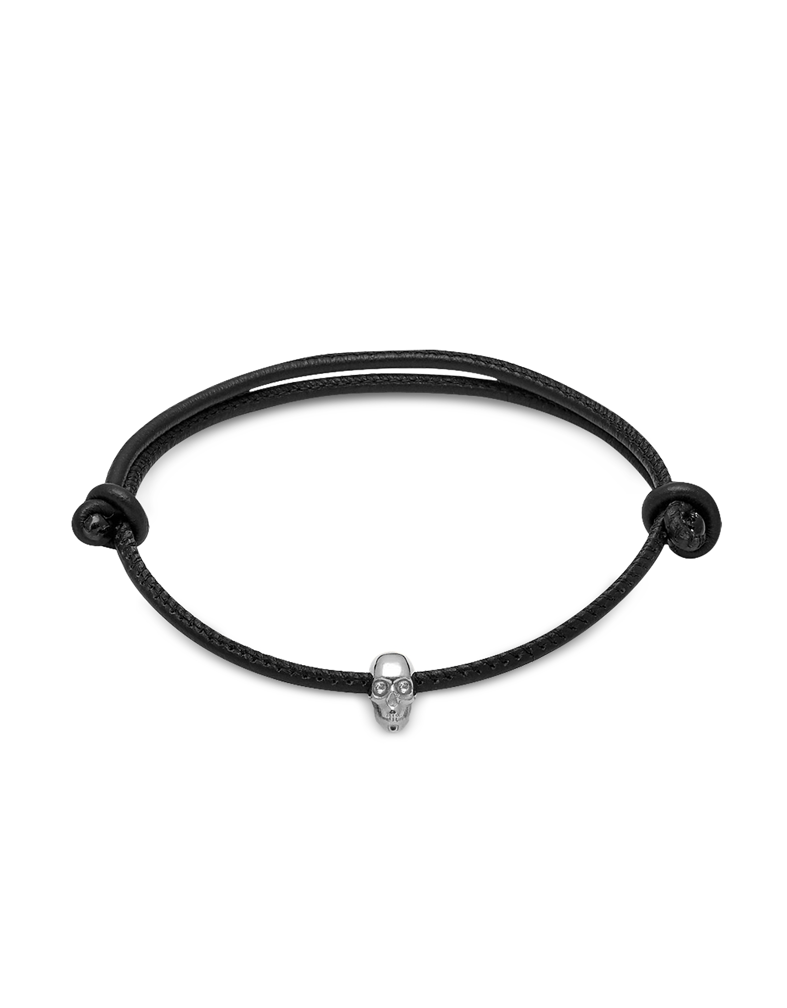 Skull Friendship Bracelet w/White Swarovski Black Leather & Silver