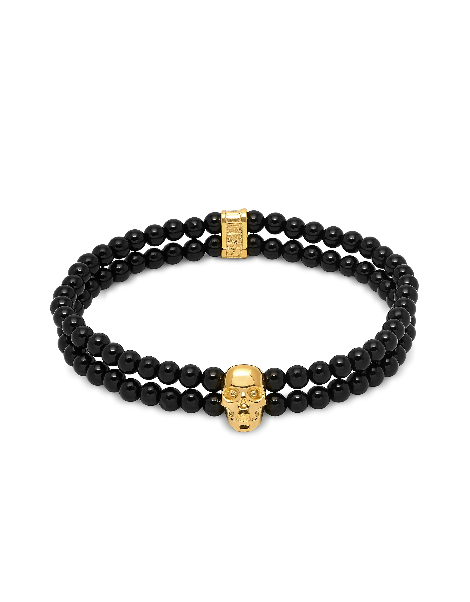 Double Row Beaded Bracelet With Skull Charmin Black Onyx & Gold