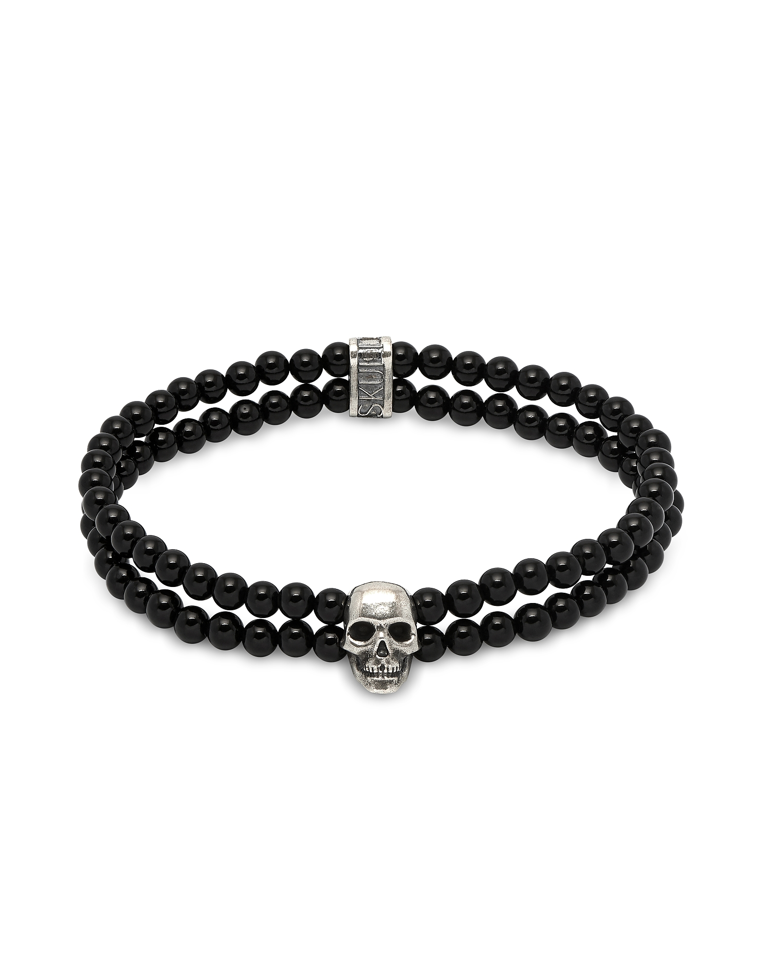Double Row Beaded Bracelet With Skull Charmin Black Onyx & Silver