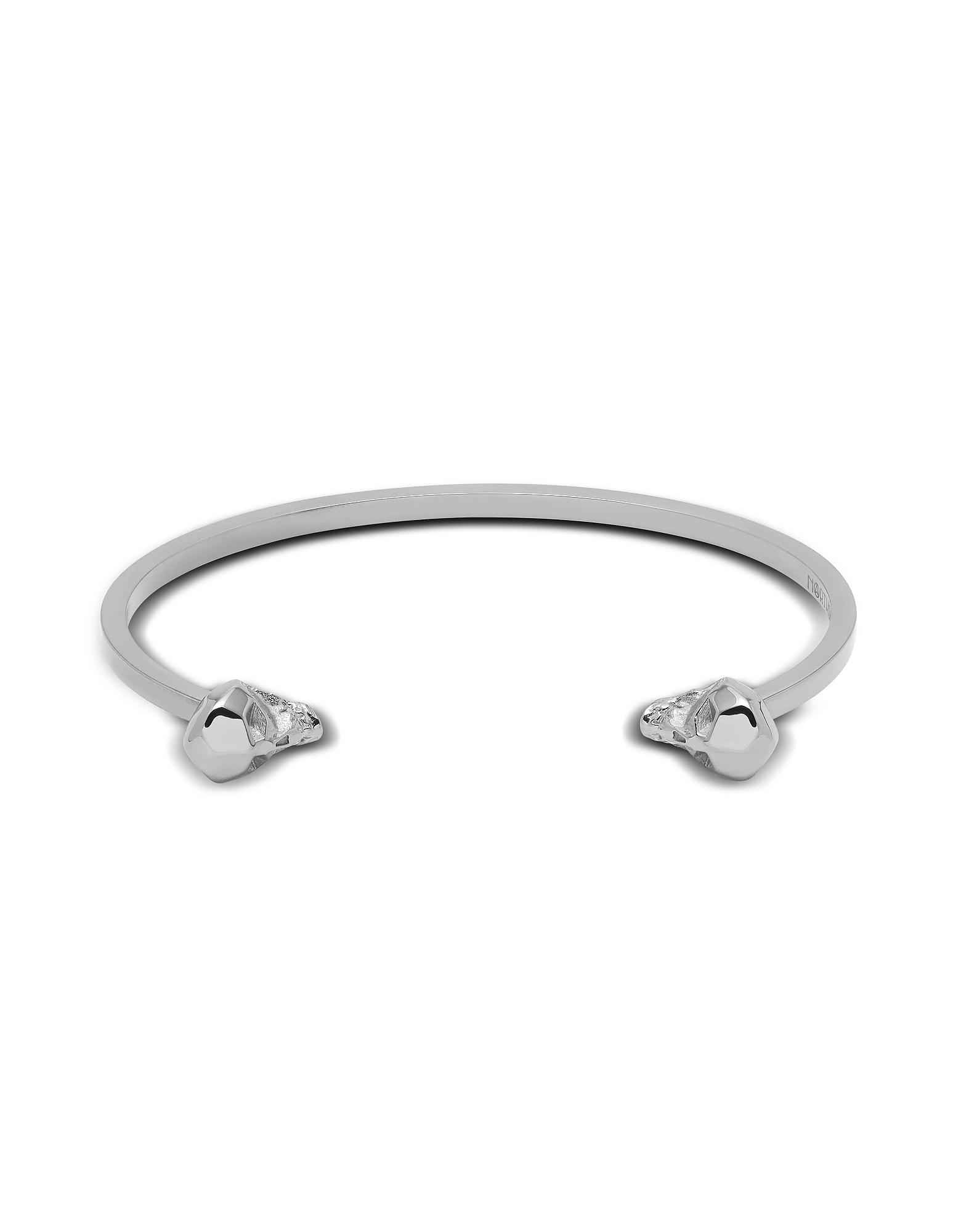 Northskull Men's Bracelets, Hexagus Skull Cuff In Silver