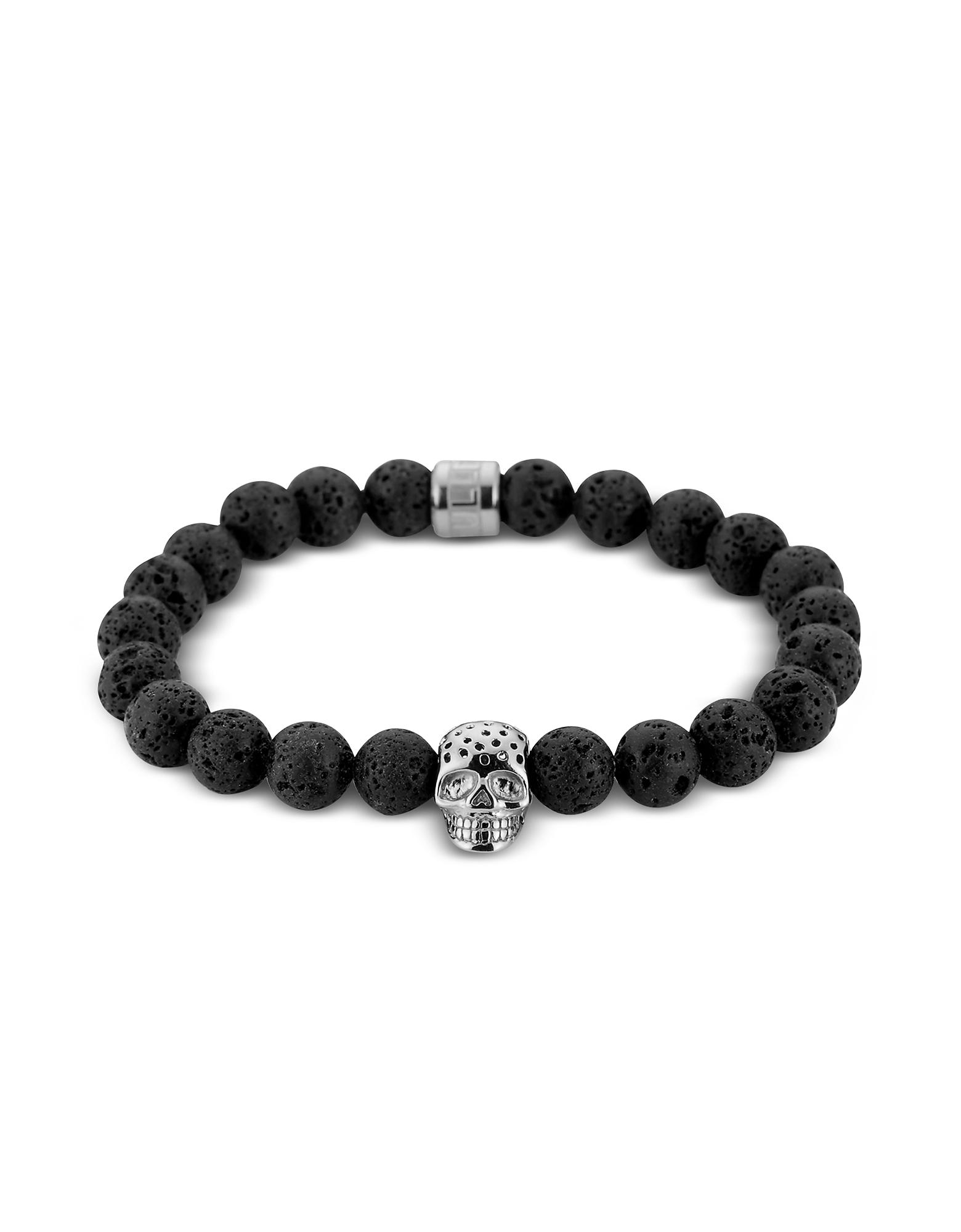 Lavastone & Perforated Silver Skull Charm Bracelet, Black