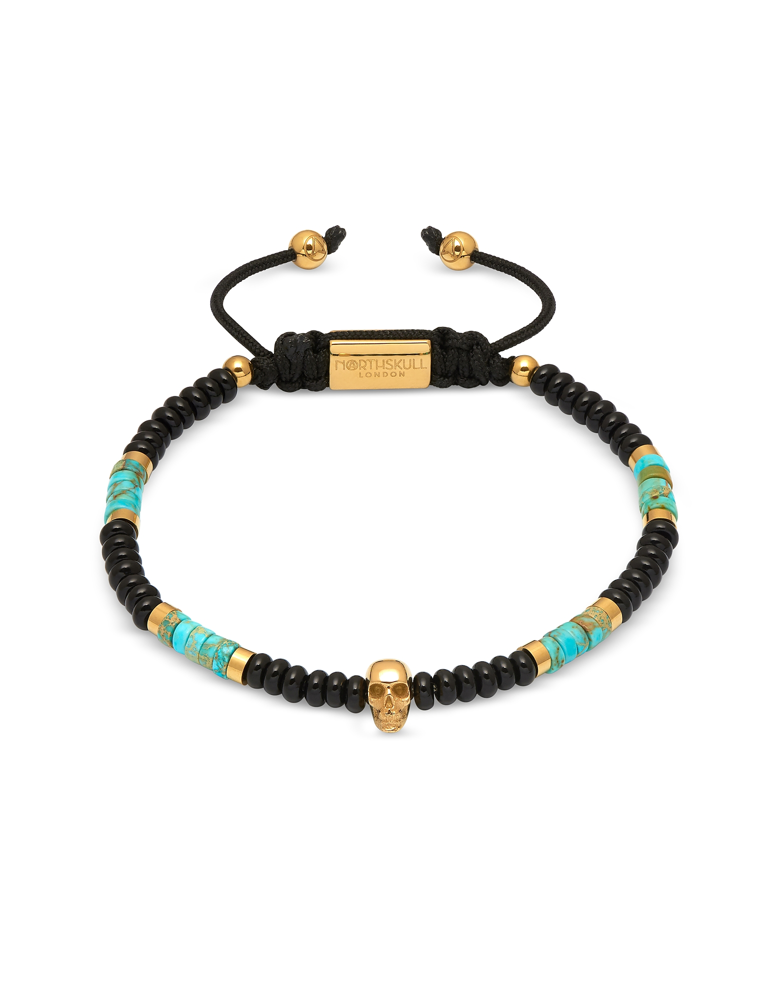 Atticus Skull Macramé Bracelet In Black Onyx w/ Turquoise And Yellow Gold