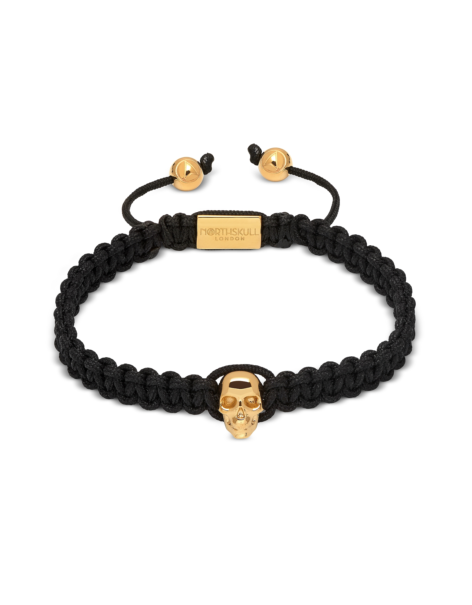Atticus Skull Macramé Bracelet In Black And Yellow Gold
