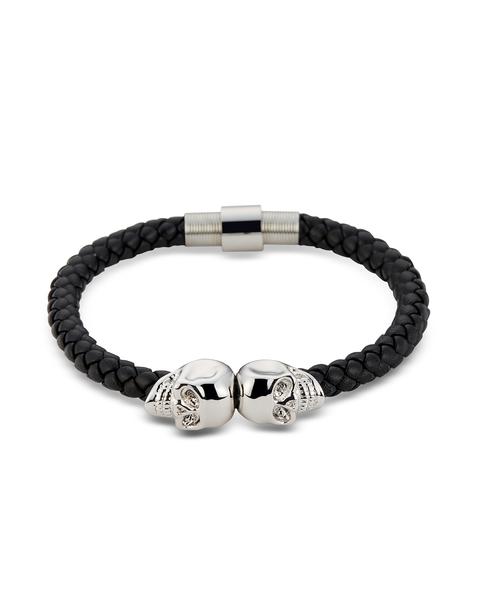 Northskull Men's Bracelets, Black Nappa Leather & Rhodium Twin Skull Men's Bracelet