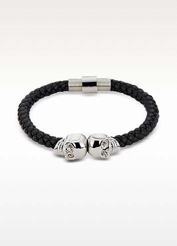 Black Nappa Leather & Rhodium Twin Skull Men's Bracelet - Northskull