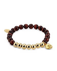Red Tiger Eye & Gold Skull Charm Bracelet