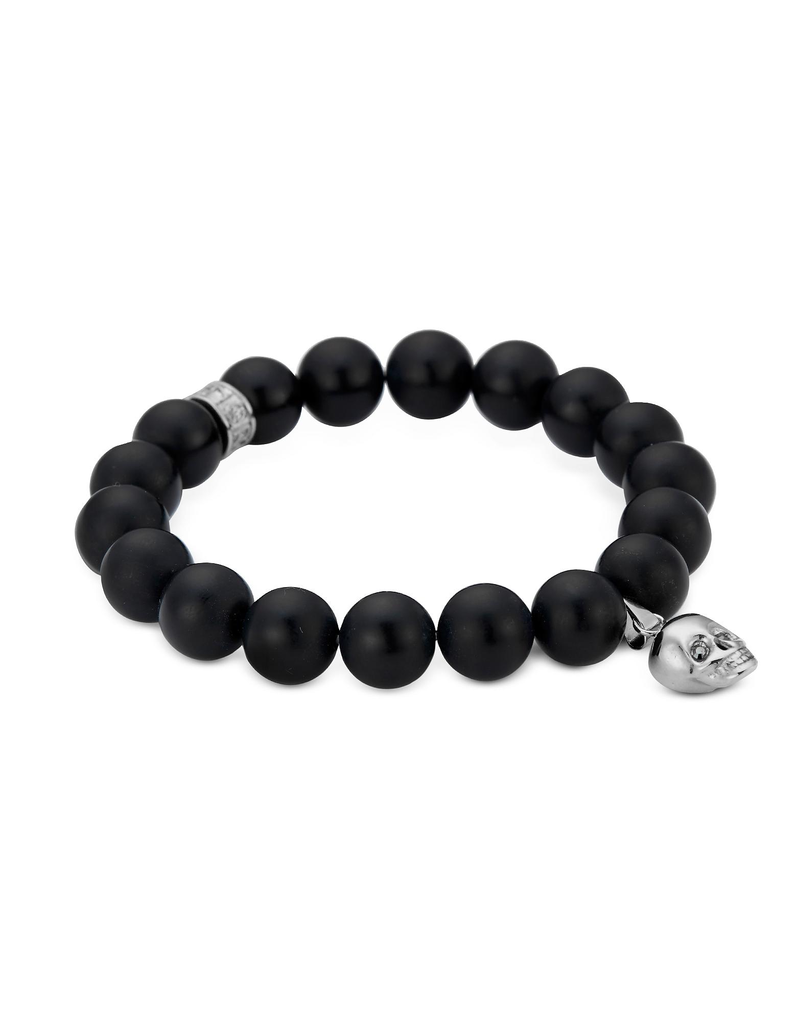 Northskull Men's Bracelets, Matte Black Onyx/Silver Skull Bracelet with Black Crystal