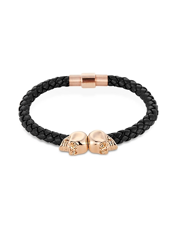 Northskull - Navy Blue Nappa Leather/ 18kt. Rose Gold Twin Skull Bracelet