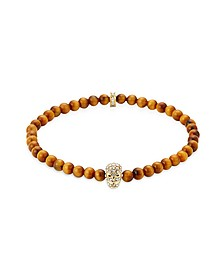 Yellow Tiger Eye Golden & Clear Crystal Micro Skull Bracelet
