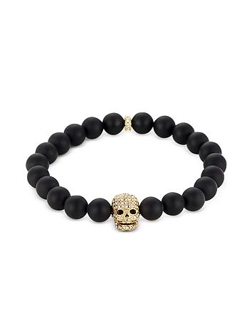 Northskull - Matte Black Onyx/Gold Skull Bracelet with Crystals