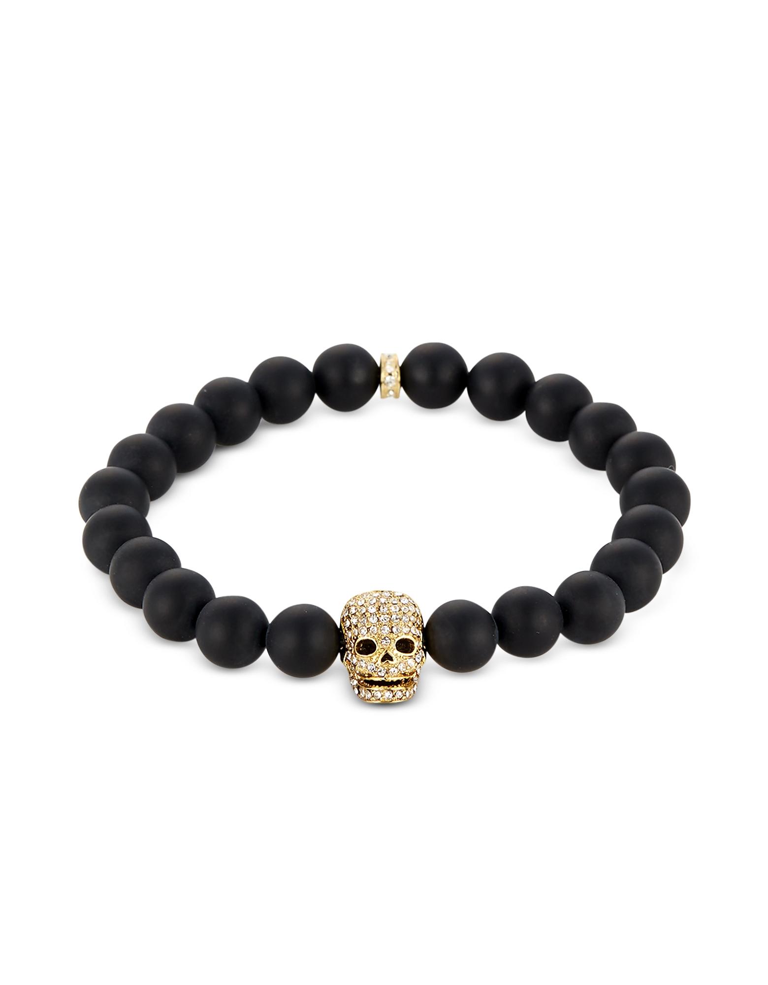 Matte Black Onyx/Gold Skull Bracelet with Crystals