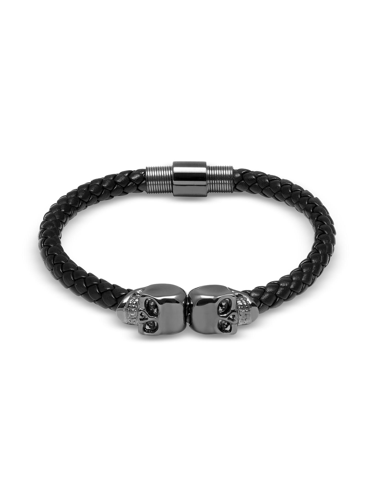 Northskull Men's Bracelets, Black Nappa Leather w/ Gunmetal Twin Skull Bracelet
