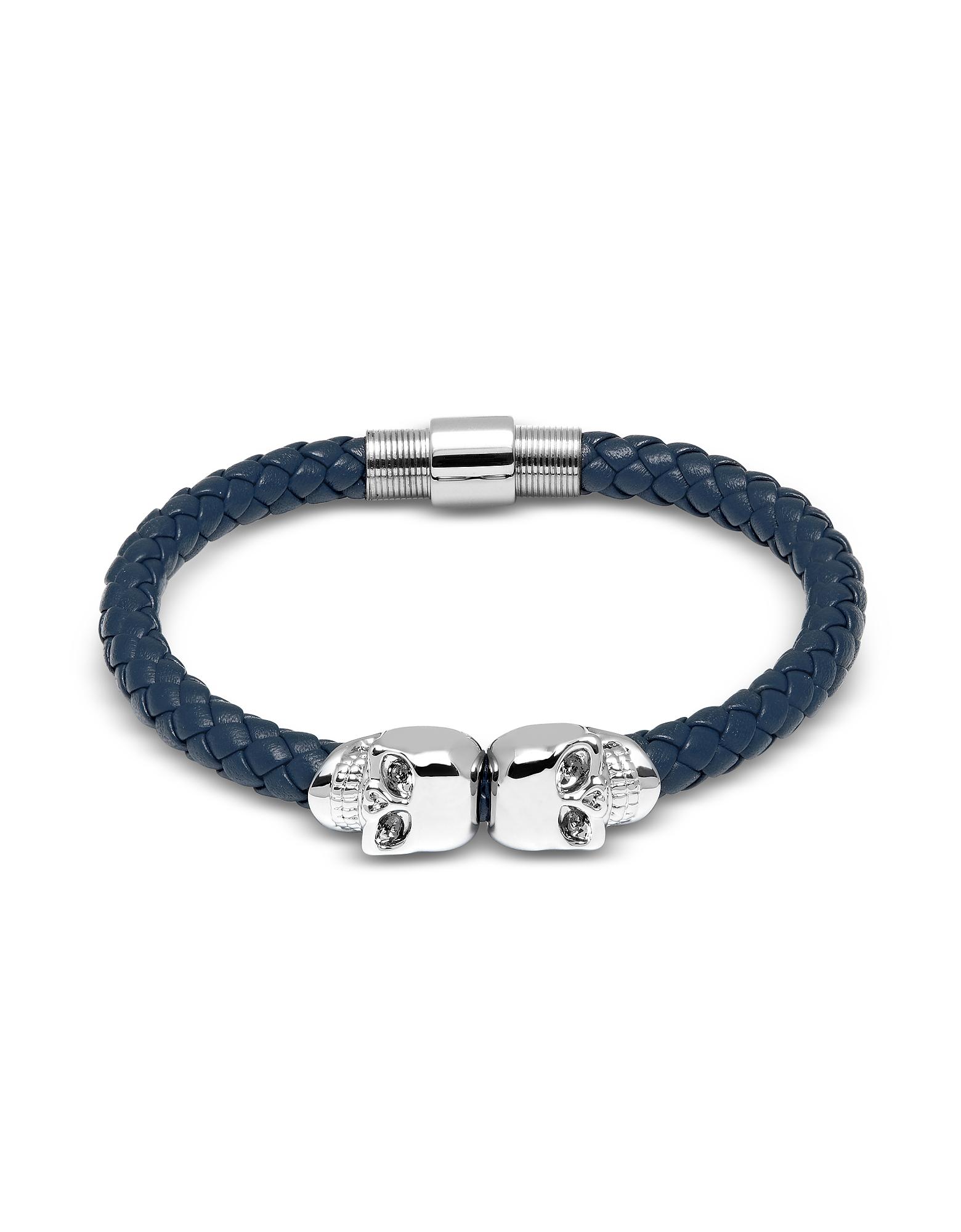 Denim Blue Nappa Leather W/ Silver Twin Skull Bracelet