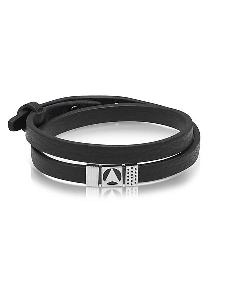 Northskull Insignia - Bracelet Double en Cuir Noir et Métal Argent