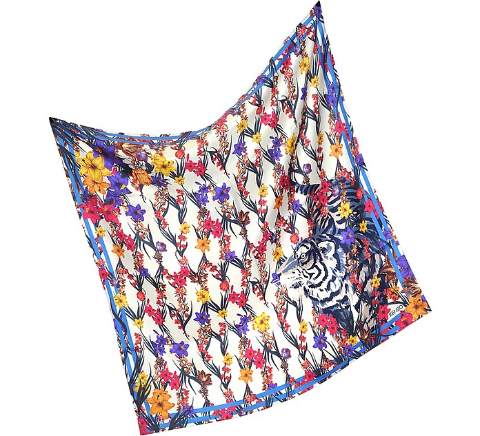 Tiger Floral Mesh Print Silk Square Scarf - Kenzo