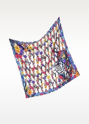 Tiger Floral Mesh Print Silk Square Scarf - Kenzo
