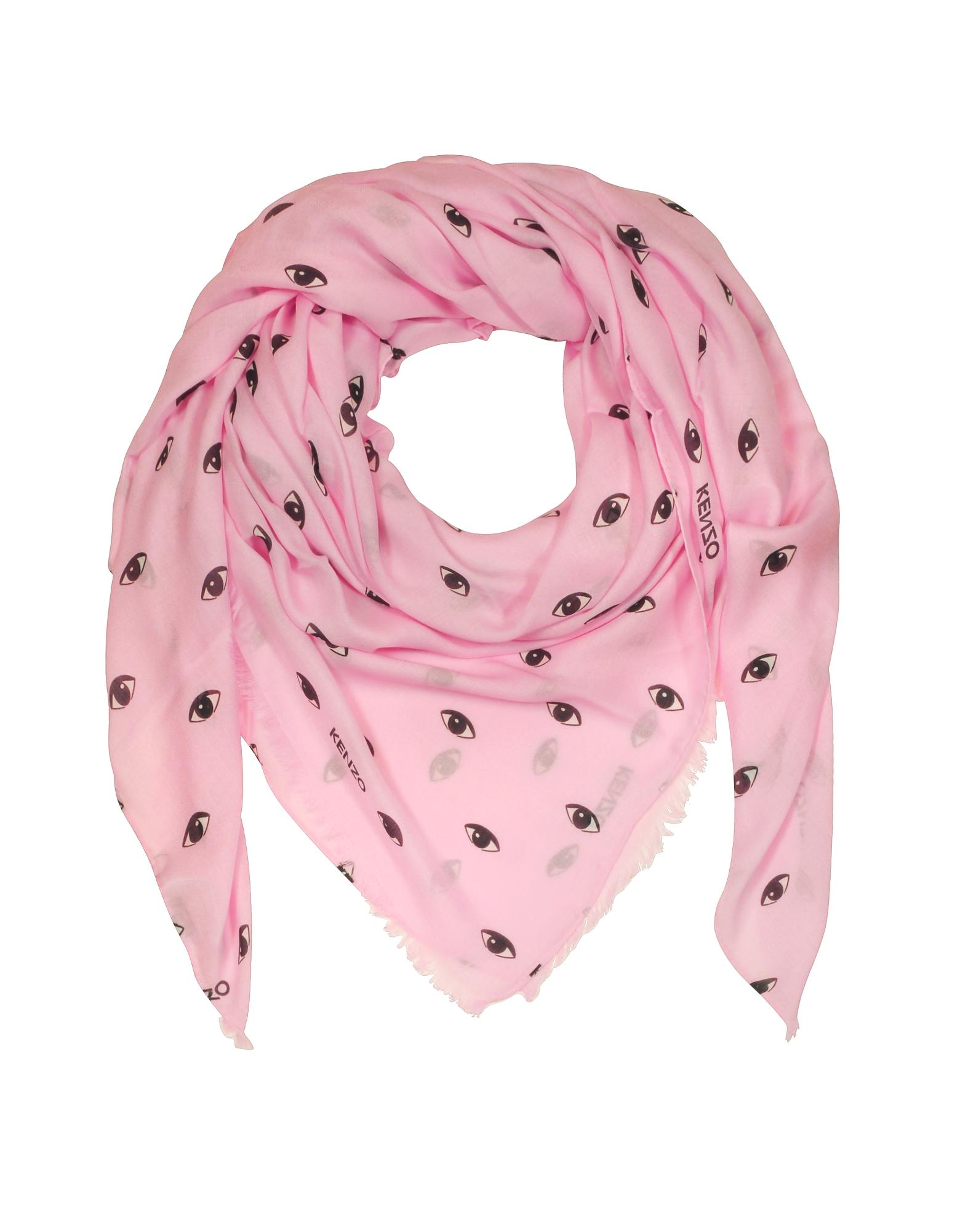 Розовая Накидка из Модала и Шелка с Принтом Глаз
