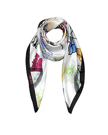Spend the Nite At Signature Silk Square Scarf - Moschino