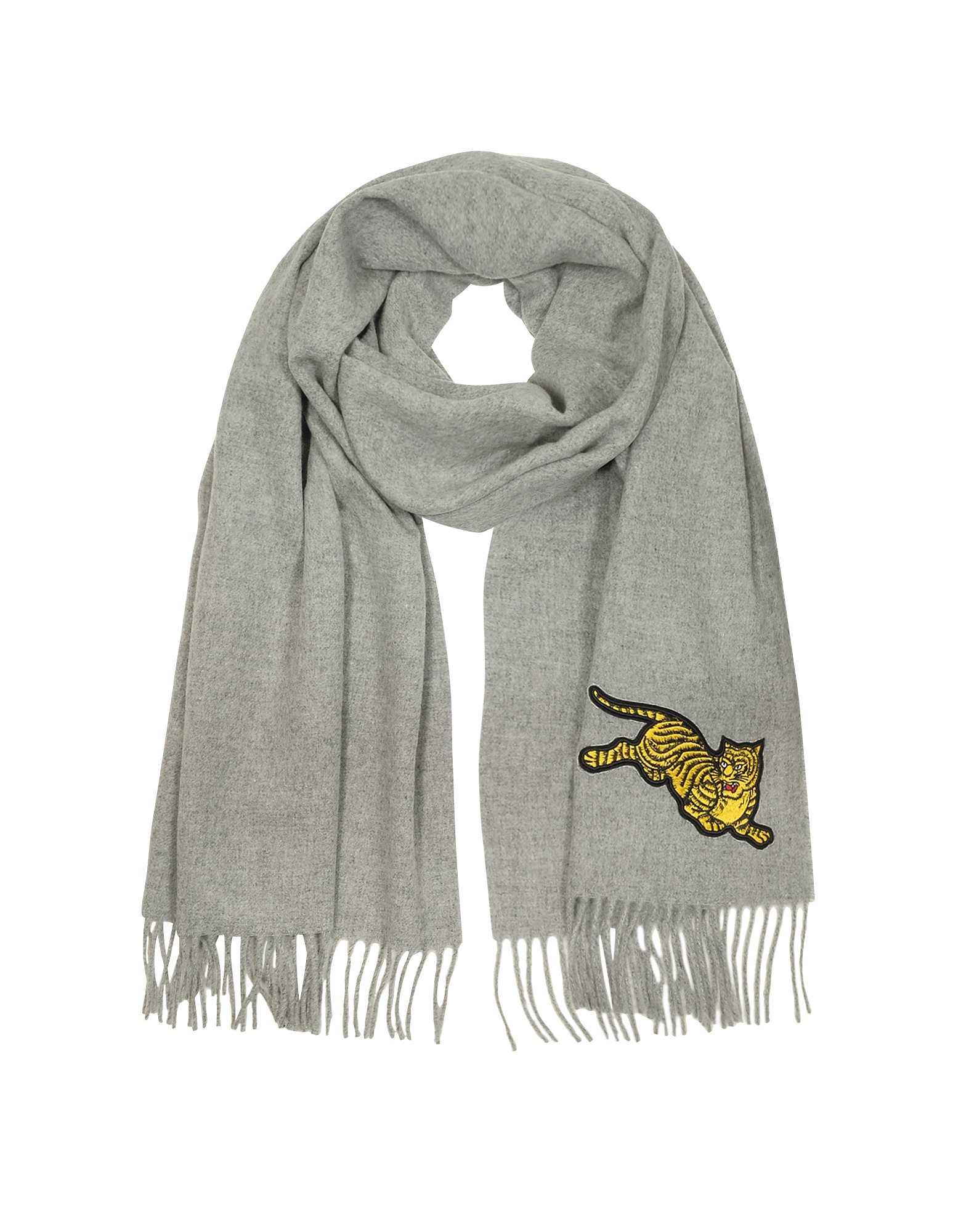 Kenzo Men's Scarves, Jumping Tiger Fringed Wool Scarf