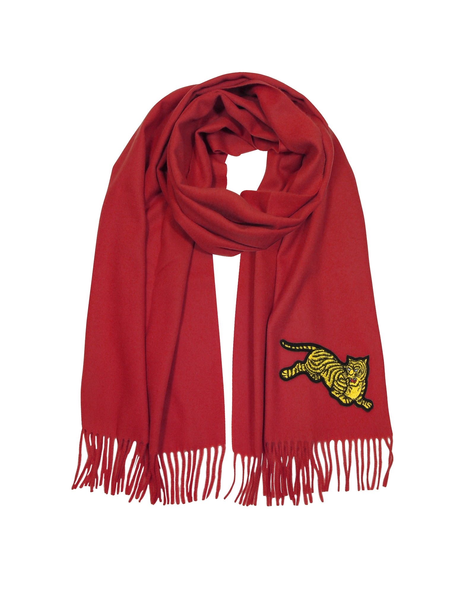 Jumping Tiger Fringed Wool Scarf