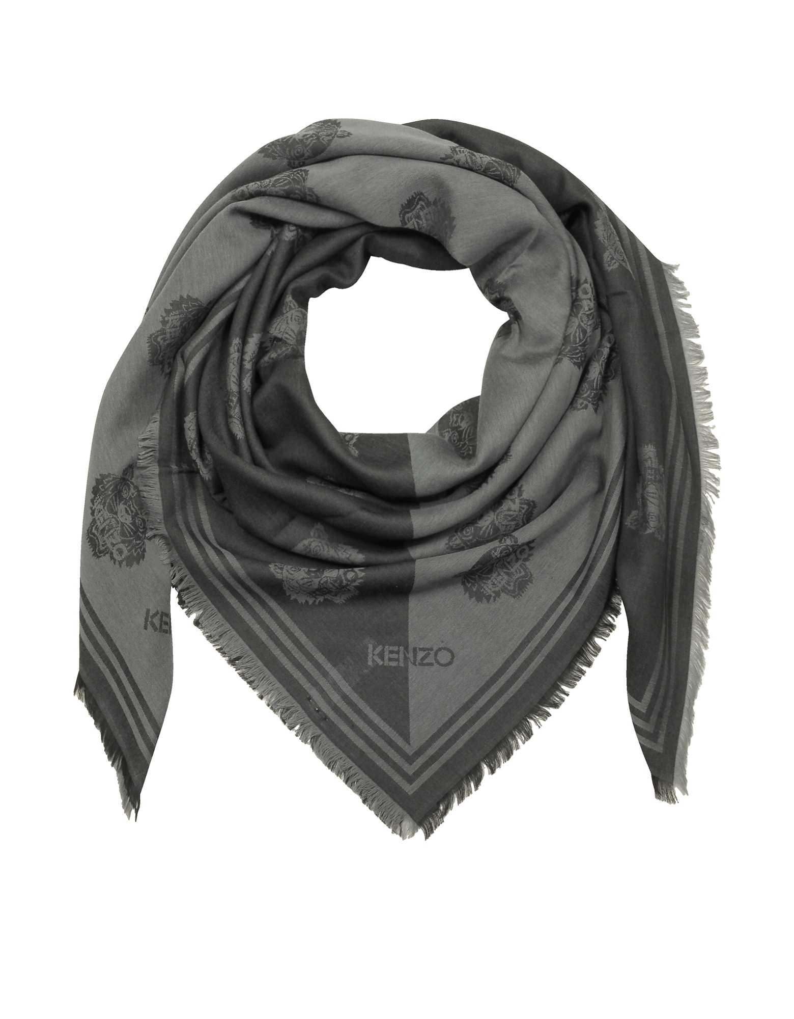 Dark Grey Cotton and Modal Tiger Wrap