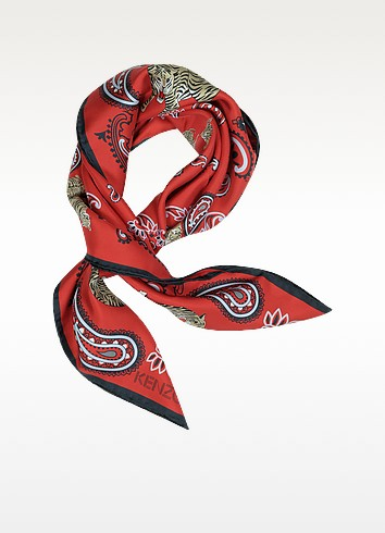 Pure Silk Tiger and Paisley Print Bandanna - Kenzo
