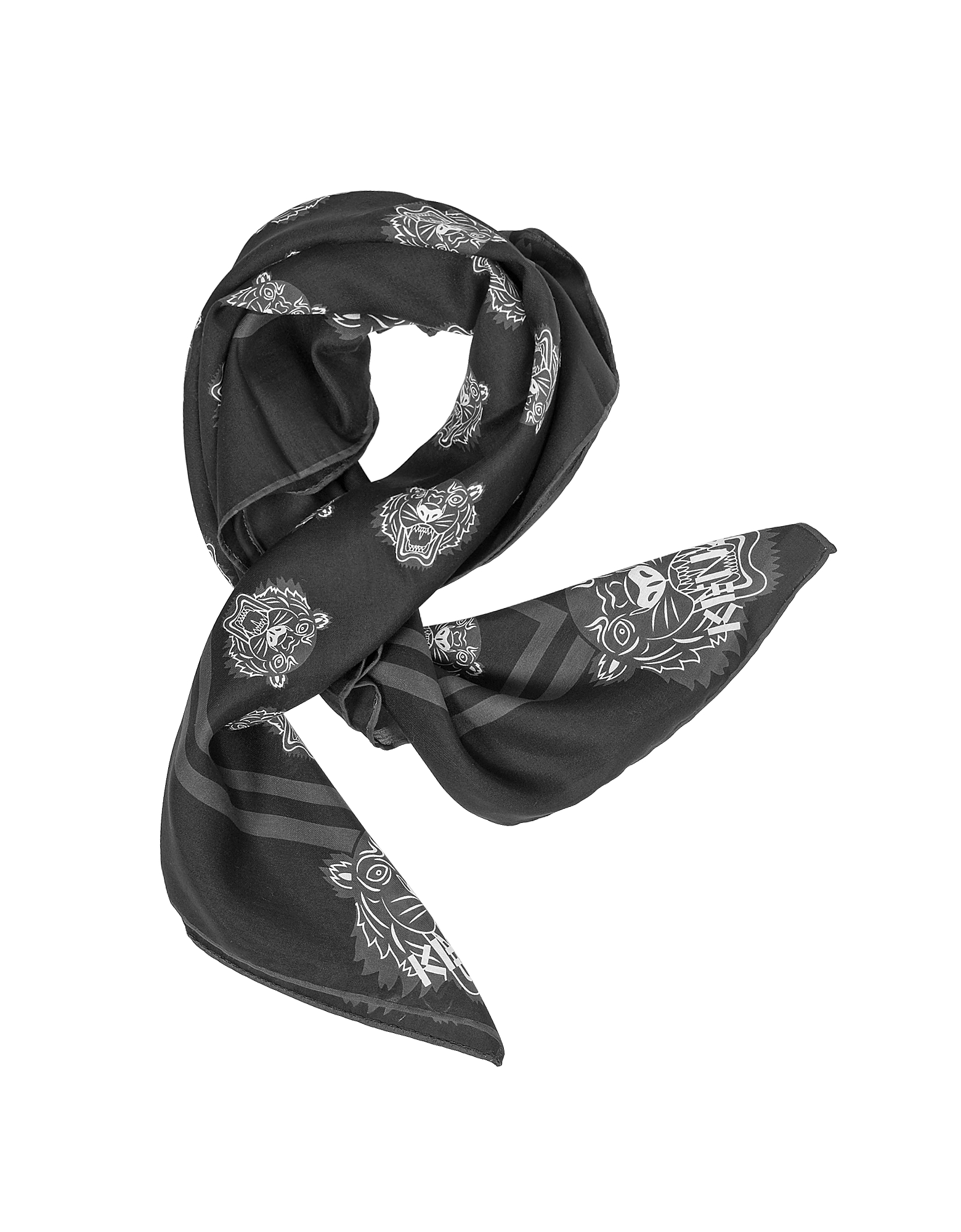 Kenzo Scarves, Tiger Printed Cotton and Silk Square Scarf