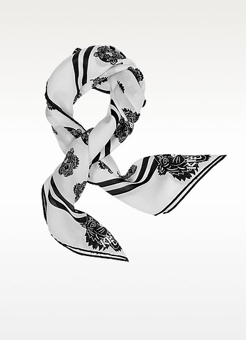 Tiger Printed Cotton and Silk Square Scarf - Kenzo
