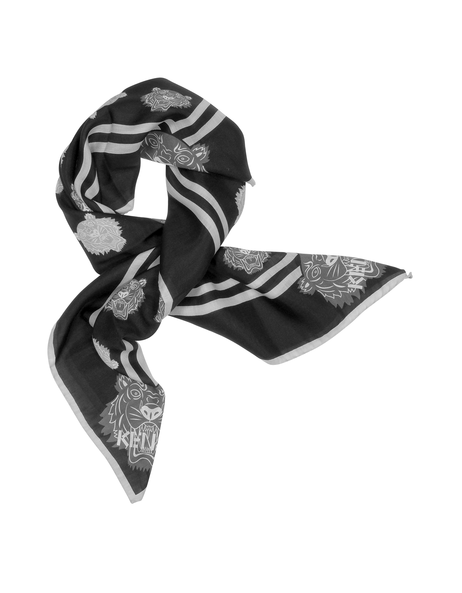 Kenzo Bandanas, Cotton and Silk Printed Tiger Bandana