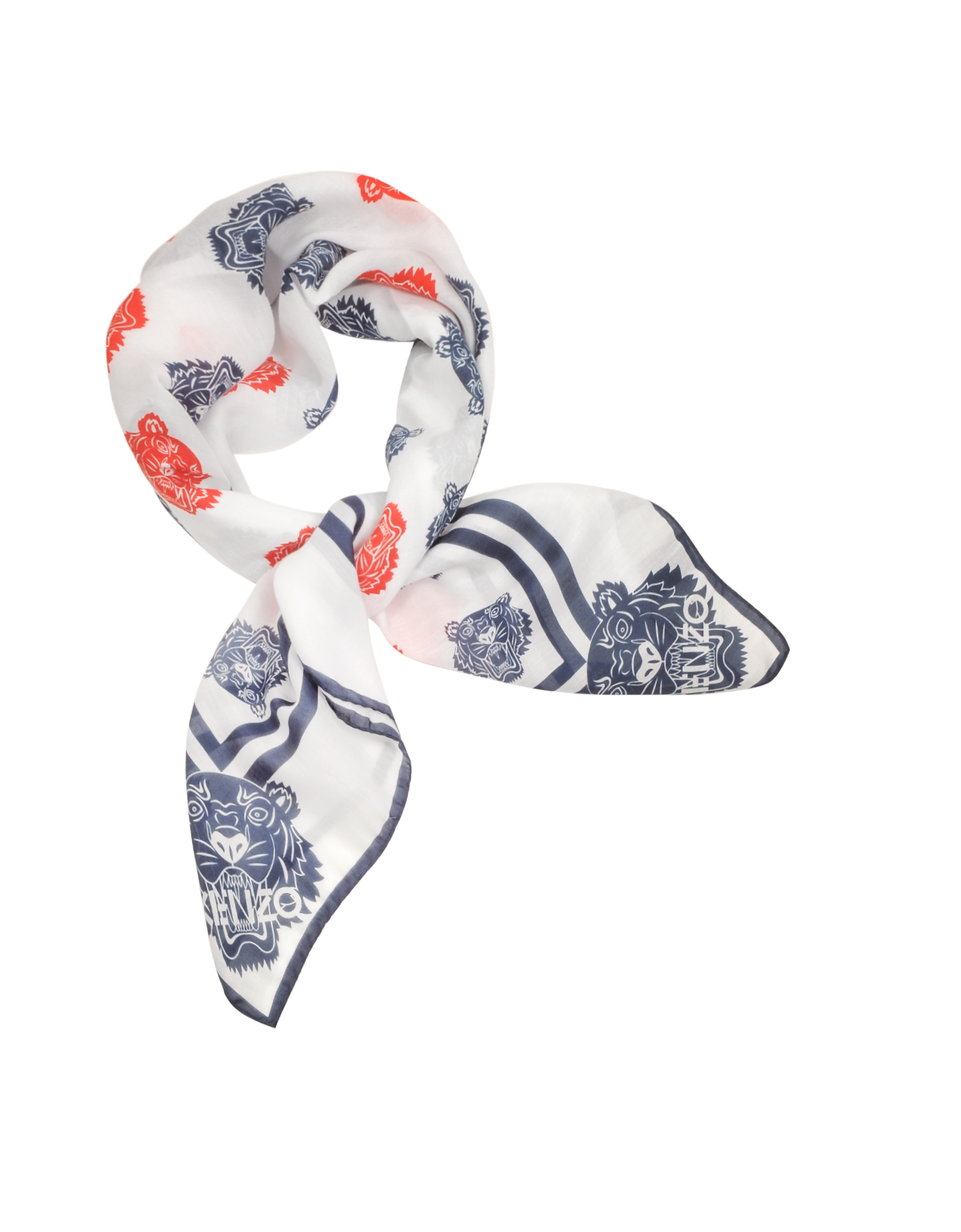 Kenzo Bandanas, Cotton and Silk Printed Tiger Bandana