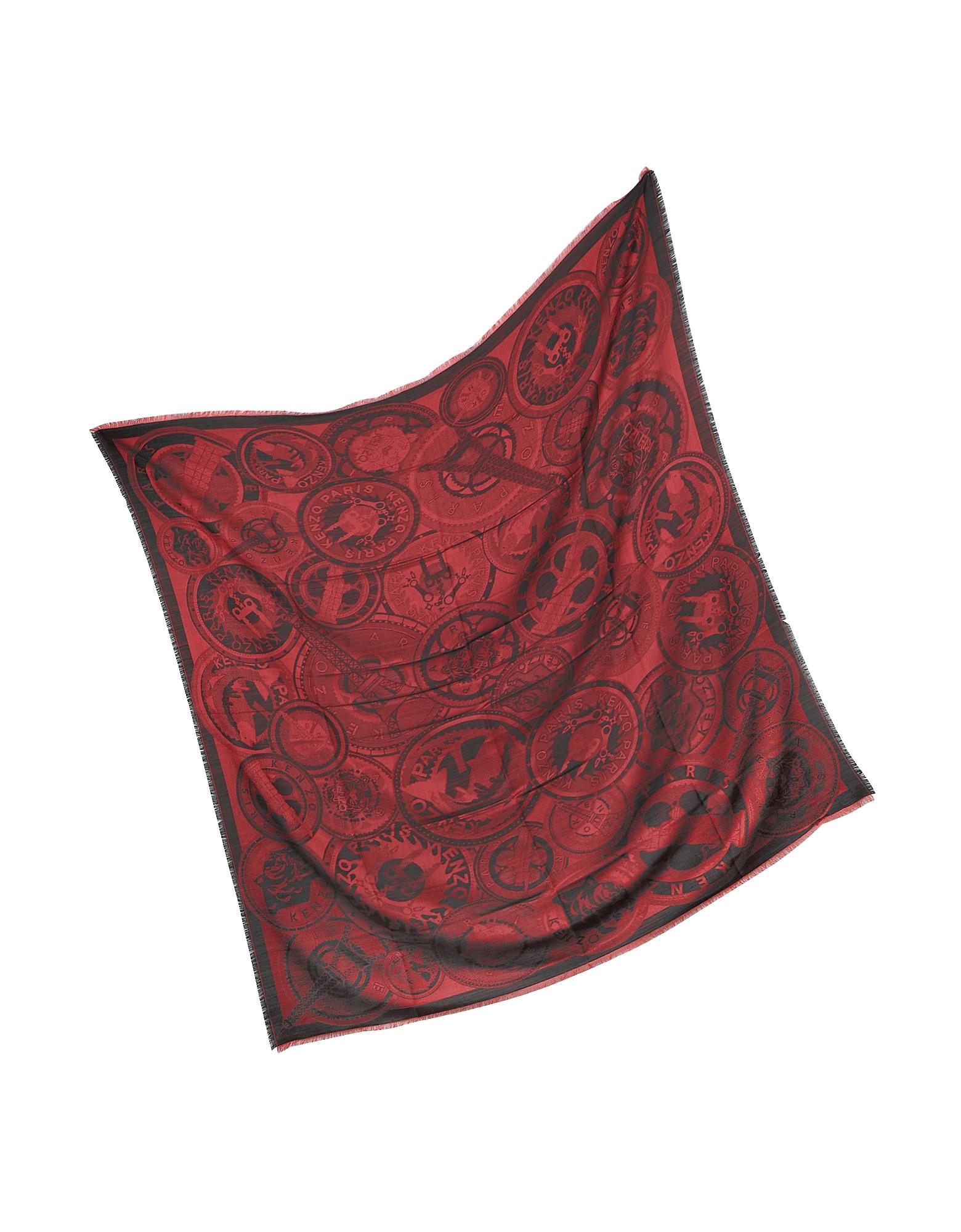 Red Silk and Wool Gaze Medallion Wrap от Forzieri.com INT