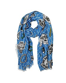 Royal Blue Cotton Blend Icon Wrap - Kenzo