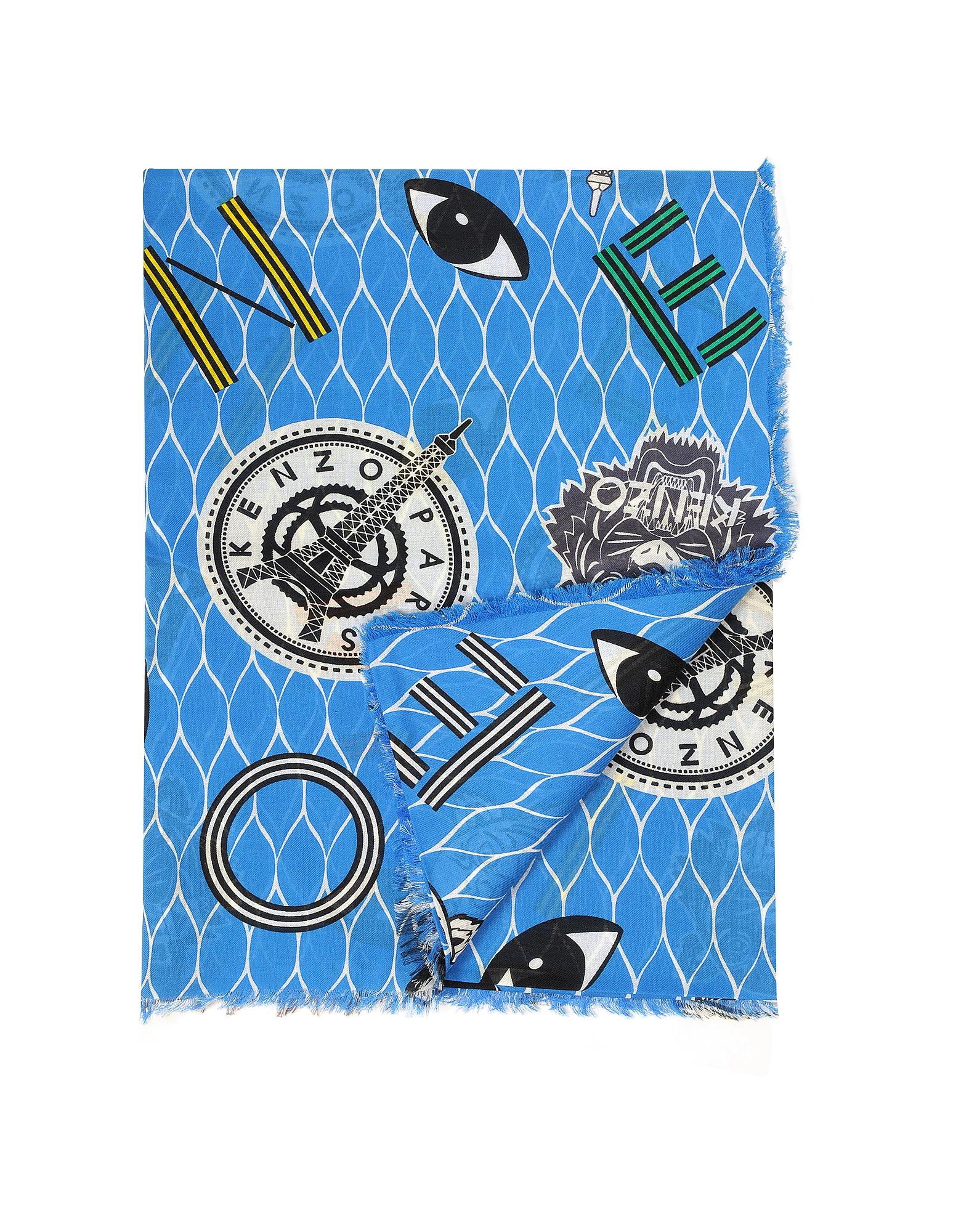 Royal Blue Cotton Blend Icon Wrap от Forzieri.com INT