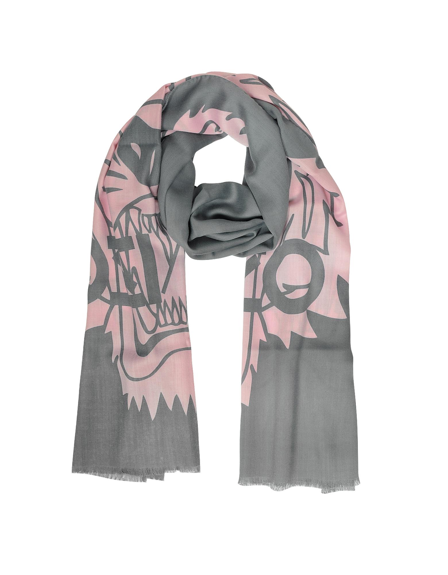 Шаль Серого и Розового Цветов из Шерсти и Шелка с Тиграми