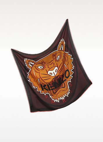 Tiger Head Print Wool and Silk Wrap - Kenzo