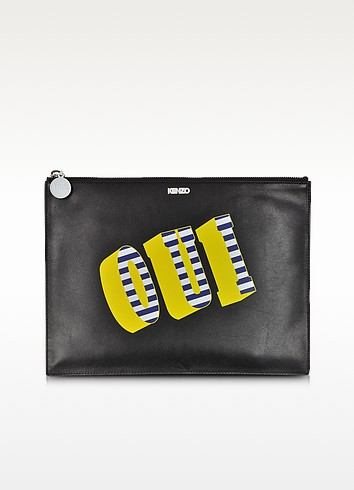 Oui & Non Leather Clutch - Kenzo