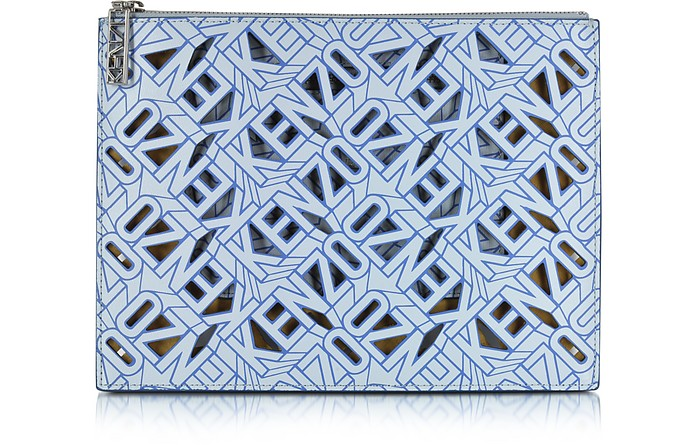 Flying Kenzo Light Blue Leather Clutch - Kenzo