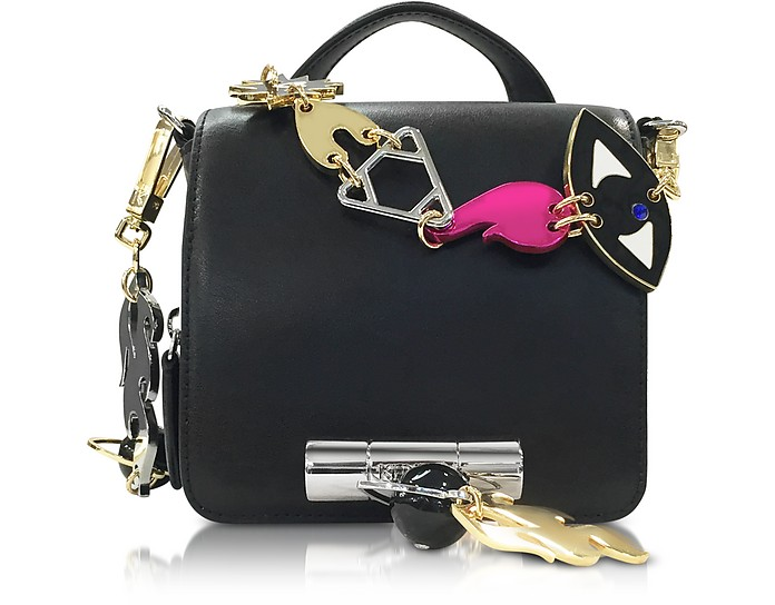 Black Leather Sailor Bag w/Signature Chain - Kenzo