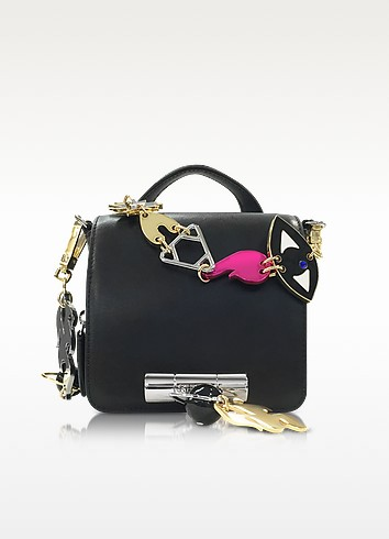 Black Leather Sailor Bag w/Signature Chain - Kenzo