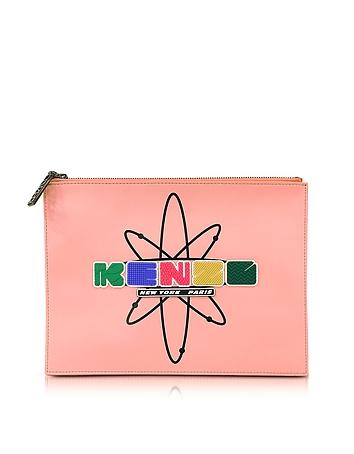 Kenzo - Pink Leather Nasa Clutch w/Embossed Rubberized Logo