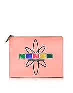 Kenzo Nasa Clutch in Pelle Rosa Corallo con Logo Gommato - kenzo - it.forzieri.com