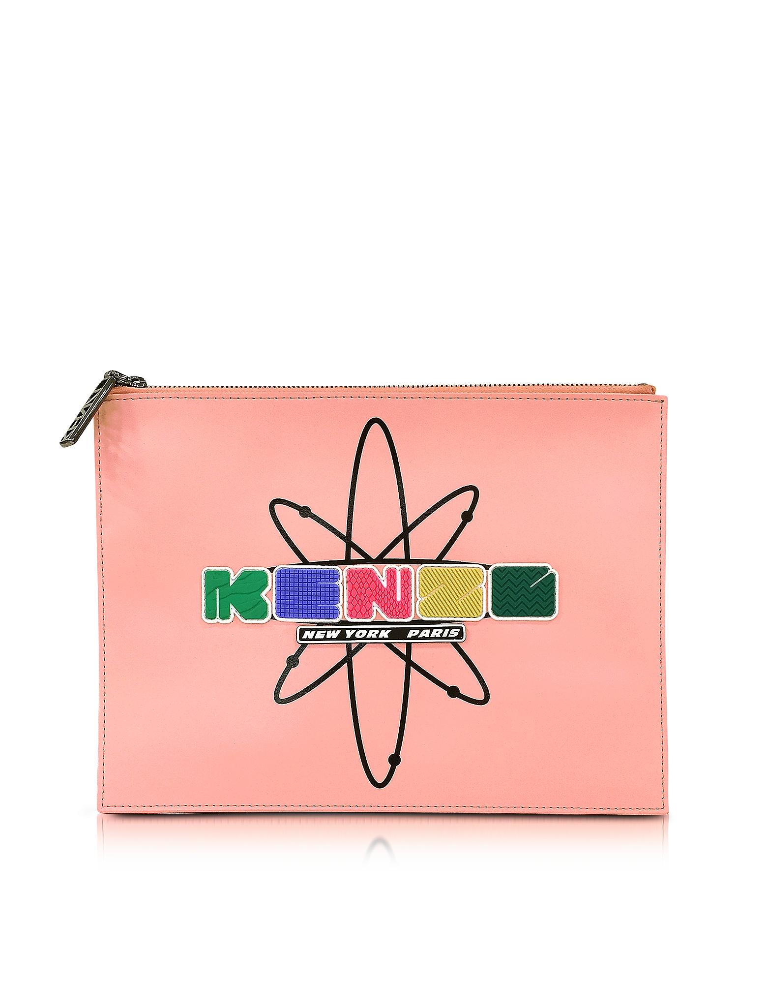 Kenzo Handbags, Pink Leather Nasa Clutch w/Embossed Rubberized Logo