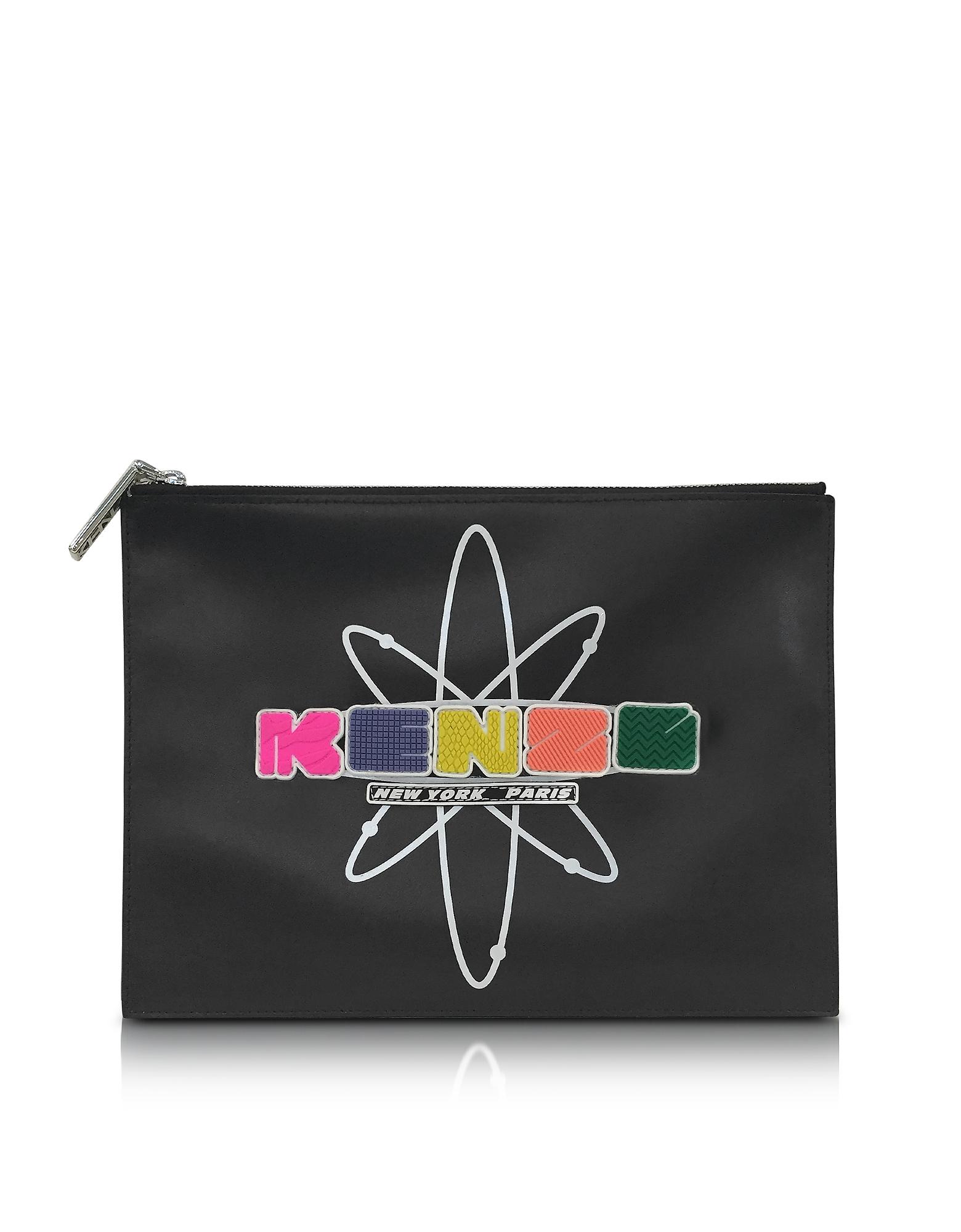 Nasa - Черный Кожаный Клатч с Тисненым Прорезиненным Логотипом