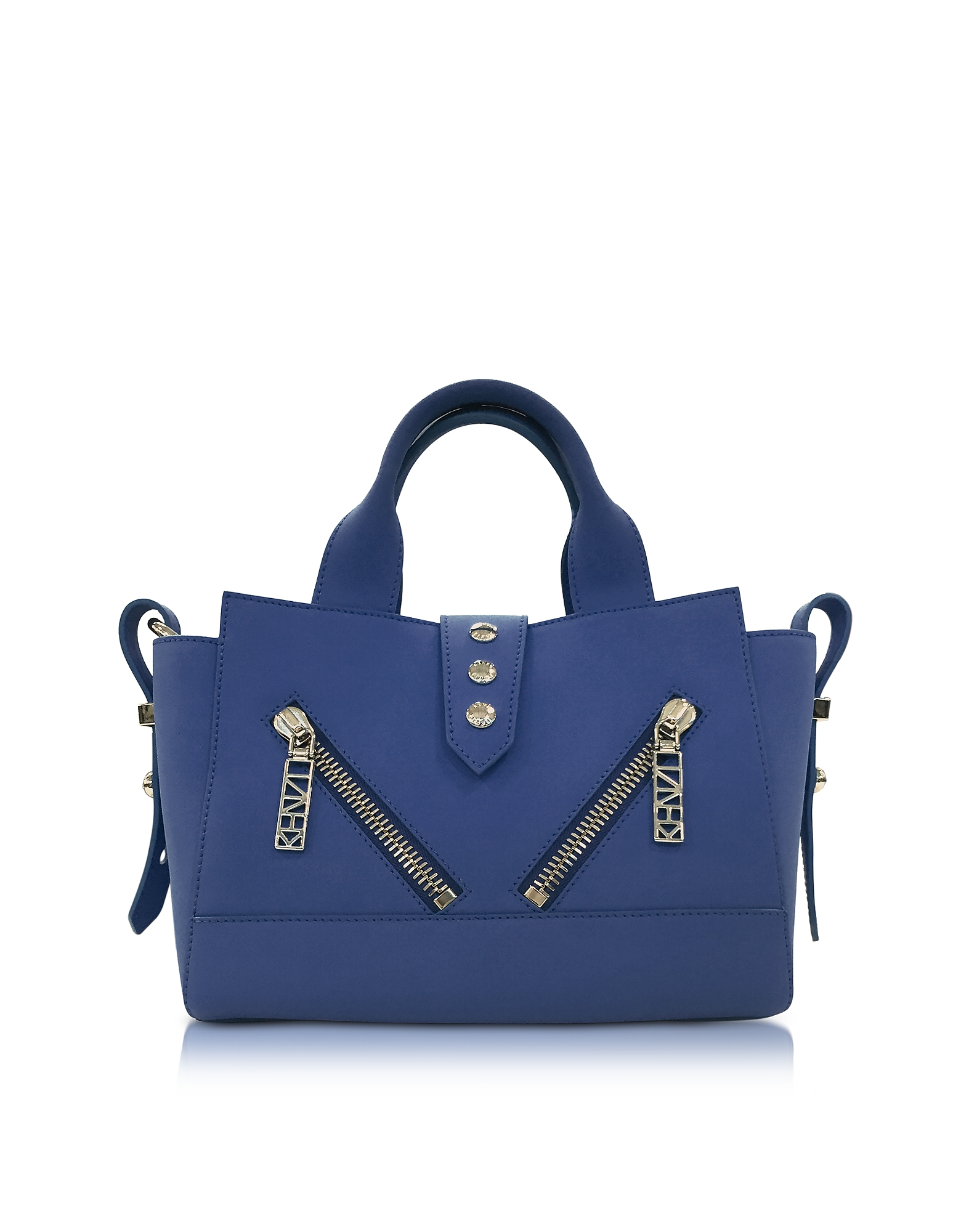 Kenzo Handbags, Dark Blue Soft Rubberized Gommato Leather Mini Kalifornia Satchel