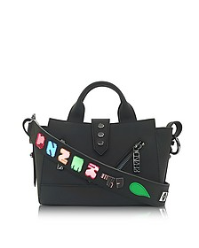 Black Soft Rubberized Gommato Leather Mini Kalifornia Satchel x Badges - Kenzo