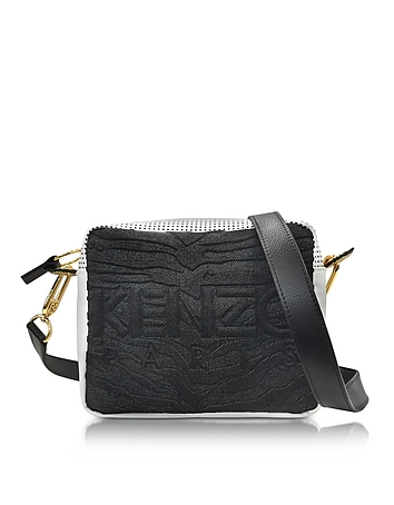 d9c044976a7f Black   White Neoprene and Leather Kombo Camera Bag from Kenzo at FORZIERI  Official Site