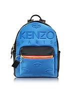 Kenzo Zaino Kombo in Denim Blu Metallizzato e Pelle - kenzo - it.forzieri.com