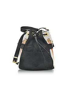 Metallic Denim Black and Leather Kombo Bucket Bag - Kenzo